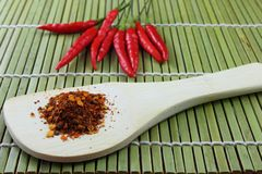 Chili powder and red paprika Royalty Free Stock Photos