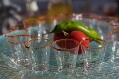 Chili Powder Shot Glasses Stock Images