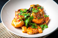 Chili prawns royalty free stock photos