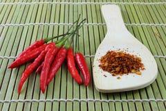 Chili proszek i czerwieni papryka Obraz Royalty Free