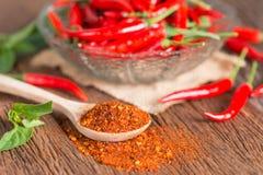 Chili proszek w łyżki i czerwonego chili pieprzu Obrazy Stock