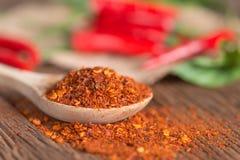 Chili proszek w łyżki i czerwonego chili pieprzu Fotografia Stock
