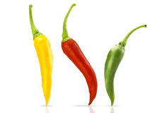 Chili. Red green and yellow peppers Royalty Free Stock Photography
