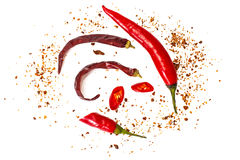 Chili, red pepper flakes, corns and chili powder Royalty Free Stock Photography