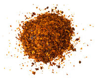 Chili, red pepper flakes, corns and chili powder Royalty Free Stock Image