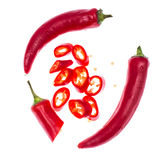 Chili red pepper pods isolated on white background Stock Images