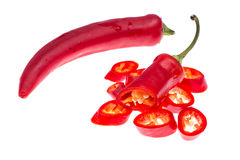 Chili red pepper pods isolated on white background Royalty Free Stock Images