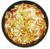Chili and Rice with Avacado. Messy bowl of Chili and Rice with Avacado Over White Royalty Free Stock Photo