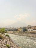 Chili River and Misti Volcano in Arequipa Stock Image