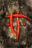 chili Roodgloeiende peperspaanse peper Op donkere houten achtergrond Stock Foto