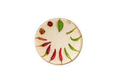 Chili in round wooden box Royalty Free Stock Image