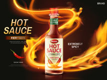 Chili sauce ad. Hot sauce ad with red chili pepper and ignited light streak, dark red background, 3d illustration Royalty Free Stock Photo