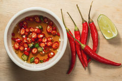 Chili sauce. Red and green chili sauce little in Asia Royalty Free Stock Photos