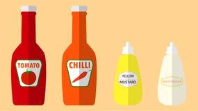 Chili sauce,tomato sauce,mustard mayonnaise Stock Images