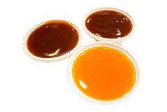Chili sauce and tomato sauce. This photo are chili sauce and tomato sauce.This seasoning food Stock Photos