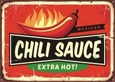 Chili sauce vintage tin sign Royalty Free Stock Images