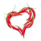 chili serce odizolowywający pieprzowy biel Obrazy Stock