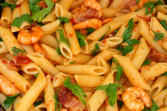 Chili shrimps with pasta Royalty Free Stock Images