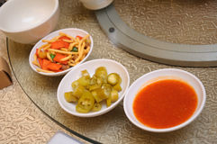 Chili and snack appetizers on a table Stock Photography