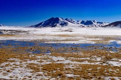 Chili, snow mountains and salty lakes royalty free stock photo