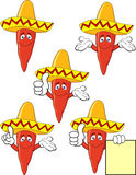 Chili with sombrero Stock Images