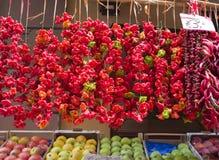Красный цвет и перцы Chili, Sorrento, Италия Стоковое Изображение RF