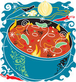Chili Soup. Stylized art of chili soup and ingredients Stock Photography