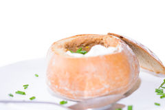 Chili soup in a bread bowl Stock Image
