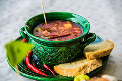 Chili soup delicious fresh broth and beans in a bowl Royalty Free Stock Photo