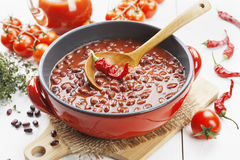 Chili soup with red beans and greens Royalty Free Stock Image