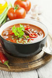 Chili soup with red beans and greens Royalty Free Stock Images