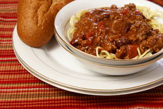 Chili and Spaghetti Stock Image