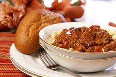 Chili and Spaghetti Royalty Free Stock Photo