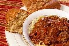Chili and Spaghetti royalty free stock photos