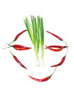 Chili and Spring Onions Royalty Free Stock Photography