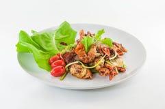 Chili stekt mjuk krabba med svart peper, bajsNim block Prik thailändska Dum Arkivfoton