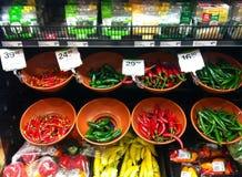 Chili supermarket. Chili at supermarket Stock Photo