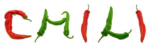 CHILI text composed of peppers Stock Images