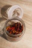Chili torkad småfisk Arkivbild