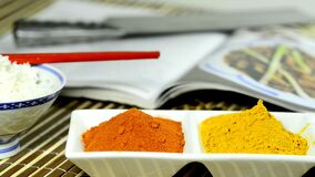Chili, turmeric, ginger powder with camera drive.  stock video footage