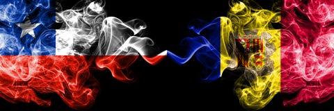 Chili versus Andorra, Andorrese rokerige zij aan zij geplaatste mysticusvlaggen Dik gekleurde zijdeachtige rookcombinatie van And royalty-vrije illustratie