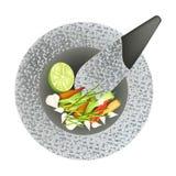 Chili, vitlök och limefrukt i svart granitmortel vektor illustrationer