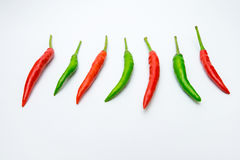 Chili on white background. Hot chili peppers on white background Stock Images