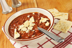 Chili wiht Saltines Stock Photo