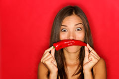 Chili Woman Funny On Red Royalty Free Stock Images