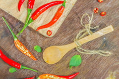 The chili for on wood texture. Stock Images