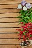 Chili zieleni i gorący pieprze Obraz Royalty Free