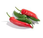 chili zielenieje pieprze czerwonych Zdjęcie Stock