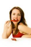 chilien pepprar den röda sexiga kvinnan Arkivfoto