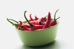 Chilies. A bowl of red chilies Stock Photos